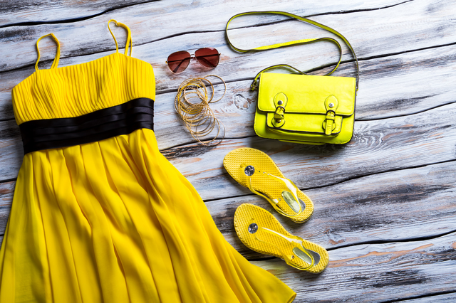 Yellow dress and lime handbag.