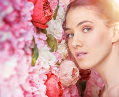 woman on a background of flowers